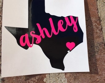Personalized Texas State Decal with Name | Texas Yeti Decal | Name Decal