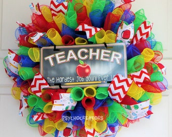 Teacher Wreath, Curly Spiral Deco Mesh Wreath, Gift for Teacher's Day, Red Green Blue Yellow Rainbow, Multicolor Back To School