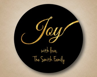 Gold Foil JOY Holiday Gift Label Personalized Christmas Stickers Custom Gift Tags Gold and Black Christmas Gift Stickers Present Label