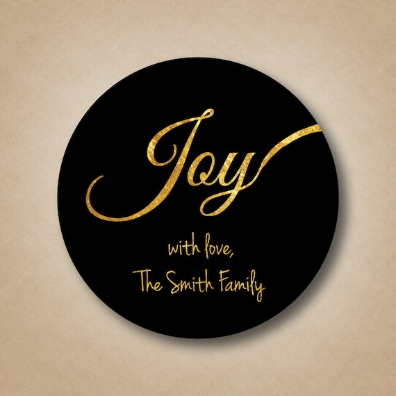 Gold Foil JOY Holiday Gift Label Personalized Christmas Stickers - Custom gold foil stickers