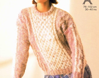 Lady's Crew Round Neck Cabled Sweater Jumper Pullover - Size 76 to 102 cm (30 to 40 inches) - Sunbeam 1051 - Vintage Retro Knitting Pattern