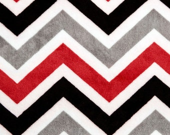 Gray, Red, Black, and White Chevron Personalized Baby Blanket or Lovey -  Baby Boy Stroller blanket - You Choose Solid Minky Color