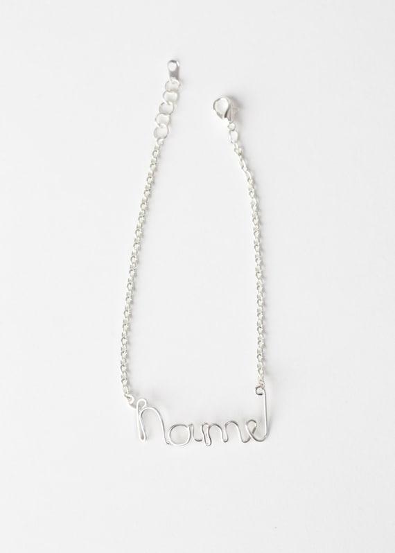 Personalized Name Bracelet - Wire Name Bracelet - Silver Wire Name Bracelet - Personalized Jewelry - Name Jewelry - Wire Word Bracelet