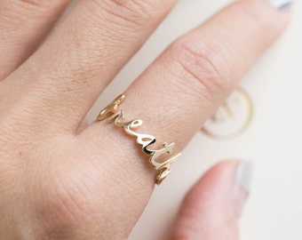 Breathe ring, script breathe ring, solid 14k gold yellow gold, rose gold white gold or sterling silver option scr-rbre