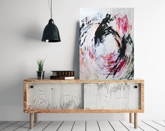 Big vertical art, large abstract painting, black and white abstract, pink gold and white abstract art, large wall decor by Julianne Strom