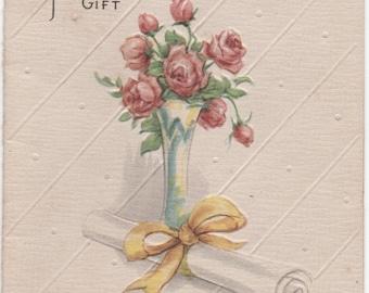 Graduation card, Beautiful, small, used, c1950s, good shape, Roses, Diploma