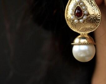 Gold Pearl Earrings/Drop Pearl Earrings/Tribal Gold Earrings/Pearl Earrings/White Pearl Earrings/