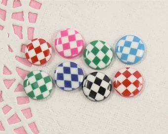 8 Pcs Assorted Round Checkered Circle Cabochons - 15x15mm