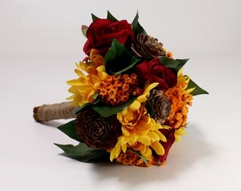 Bride Bouquet, Bridesmaid Bouquet, Fall Wedding Flowers, Artificial Silks, Dried Flowers, Orange, Red, Autumn Colors, 8 Inch Round Bouqet,
