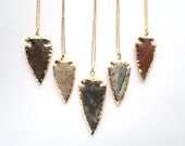 Rough Jasper Arrowhead Necklace Arrowhead Jewelry Gold Dipped Arrowhead Raw Tribal Necklace Tribal Jewelry Mineral Necklace Stone Necklace