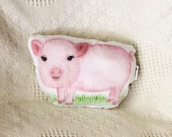 Animal pillow. Pig pillow. Organic cotton baby pillow. Pig plush. Pig farm nursery decor. Farm stuffed animal. Baby shower gift. Kids gift.