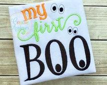 My First Boo Halloween Digital Machine Embroidery Applique Design 4 Sizes