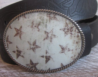 belt buckle Rustic stars mens belt buckle  Bohemian belt buckle country western women's belt buckle rodeo Patriotic Silver Oval Belt  Buckle
