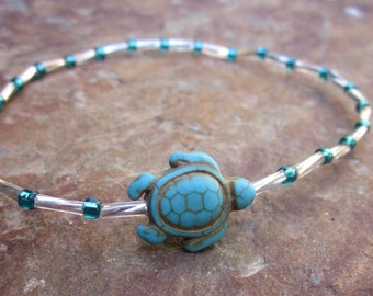 anklet  turtle anklet silver & teal glass beads turquoise stone sea turtle bohemian hippie stackable yoga surfer stretch anklet / bracelet