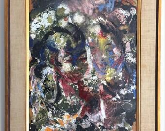 Vintage Lover Oil Painting, Vintage framed abstract painting, Wood framed painting, Colorful painting, Romantic Painting, Portrait  painting