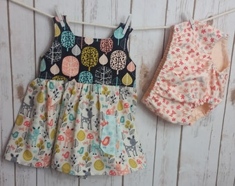 Swing Top and Diaper Cover/Bloomers Set Acorn Forest Sorbet