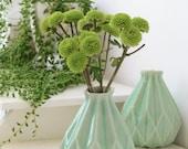 Holidays  gift, Geometric vase, pale green ceramic flower vase, Origami inspired Gift