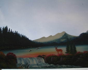 Mountain-Trail View, Painted Mirror for the Man-Cave - MCM Man Cave Decor