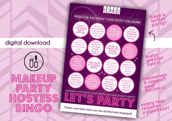Makeup Party Hostess Bingo