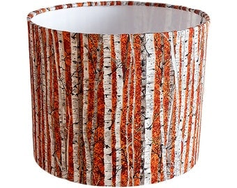 Orange lampshade etsy silver birch lampshade orange ukeuus pendant ceiling or table lamp mozeypictures Gallery