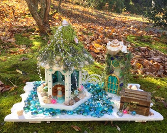 Magical Illuminated Mermaid Grotto/Fairy House with hand painted Arial Mermaid peg doll