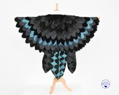 Kids's Raven Cape, Maleficent Costume, Crow Bird Wings Cape, Harry Potter, Bird Cape for Halloween, Carnival, - made to order