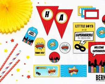 Superhero Party, Superhero Party Printable, Superhero Birthday Printable, Superhero Party Decor, Superhero Birthday