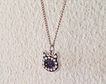 Cat Necklace, Black Cat Necklace, Cat Pendant Necklace, Silver Cat Necklace, Black Shell Necklace, Rhinestone Cat Necklace, Resin Jewelry