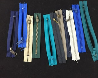 """Lot of 11 Vintage Purse Zippers 6""""-9"""" Sizes"""