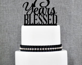 75 Years Blessed Cake Topper, Classy 75th Birthday Cake Topper, 75th Anniversary Cake Topper- (T260-75)