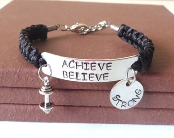 Achieve Believe Barbell Strong Weightlifting Bodybuilding Charm Bracelet You Choose Cord Color(s)