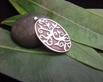 Tree of Life Pendant Sterling Silver Plain Silver Jewelry Necklace Artisan Design Handmade Jewel Bodhi Tree