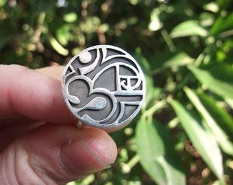 Om Ring Fibonacci Spiral Ring Golden Spiral Ring Sterling Silver Design Handmade Golden Ratio Jewelry Sectio Aurea
