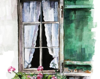 "Window Painting - Print from Original Watercolor Painting, ""Green Window"", Garden Decor, Geraniums"
