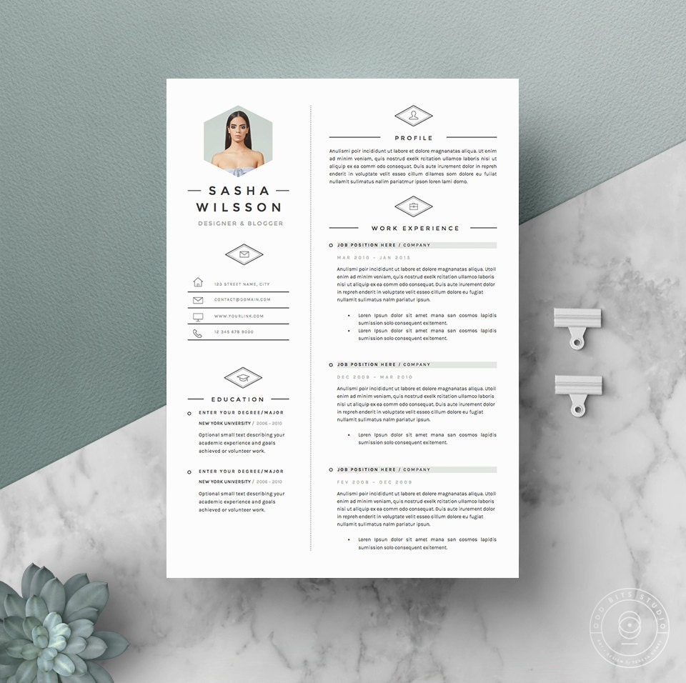 5 page resume template    cv template pack cover letter for