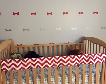 Crib Rail Teething Guard - Red/White Chevron
