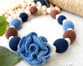 Nursing necklace Blue and brown, for mom&baby, Summer Teething Necklace, collana allattamento, Crochet Breastfeeding Necklace, gift4mom
