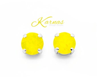 YELLOW OPAL 8mm Crystal Chaton Stud Earrings Made With Swarovski Elements *Pick Your Finish *Karnas Design Studio *Free Shipping*
