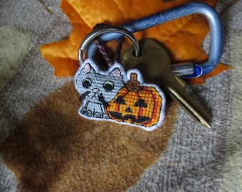 Halloween Kitty Cat with Striped Tail and Jack-O-Lantern Charm (for Keychains, Backpacks, Bags, Purses, and Zippers)