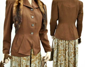 Vintage 1940s Chocolate Brown Hourglass Jacket