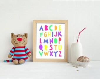 Downloadable Alphabet Nursery Print, Bright colors, Educational print, 8x10, Wall decor
