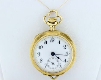 14 Karat Gold Tiny Pocket Watch Ladies
