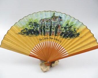 Vintage The Cabildo, New Orleans, Louisiana, Hand Painted Souvenir Fan