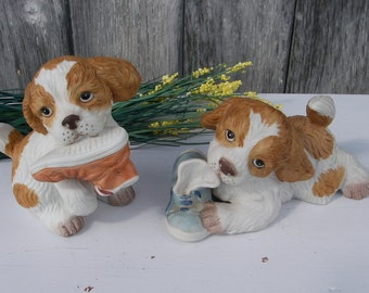 Vintage Homco Puppies With Shoes 1405, Pair of Ceramic Spaniel Puppy Figurines, Collectible Homco Dog Figurines