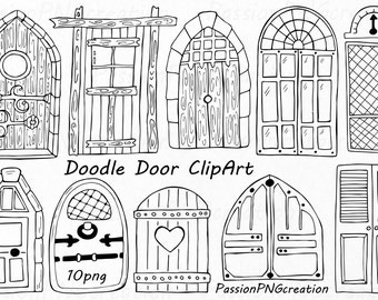 Doodle Doors Clipart, Doors Hand Drawn, digital download, wooden door, PNG, EPS, AI, vector files, for Personal and Commercial Use
