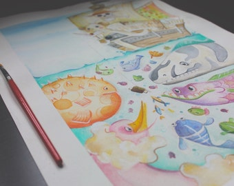 One piece | Going Merry | illustration | Print | acquerelli | manga | anime