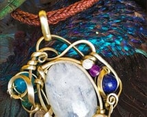 MOONSTONE pendant, wrapped with german silver wire, semiprecious stone beads, crown chakra, tribal pendant, goddess stone!
