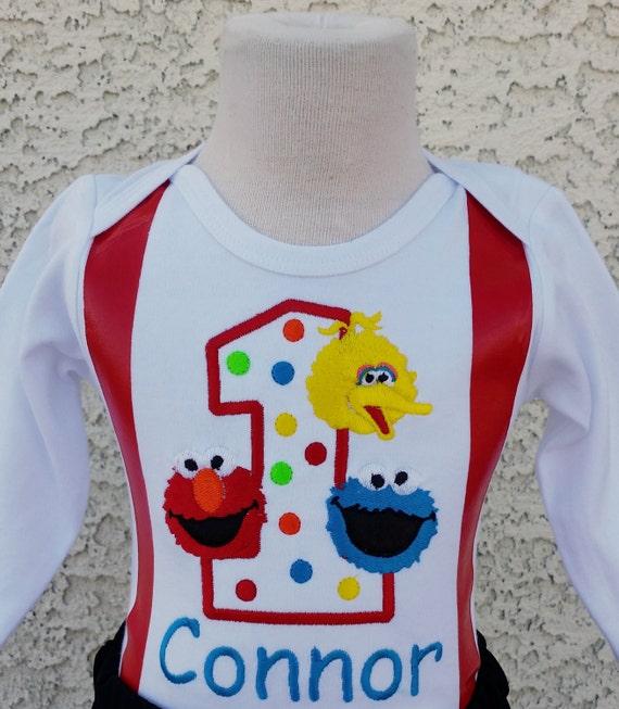 Boys Sesame Street Fake Suspenders Birthday Number Onesie or