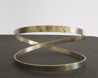 Criss Cross Cuff Bracelet, Metalwork Women Jewelery, Modern Minimal Cuffs