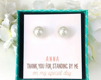 E179_ 10MM Pearl Studs, Pearl Stud Earrings, Pearl Bridesmaid Gift, Personalized Gift, Bridesmaid Jewelry, Pearl Bridesmaid Earrings